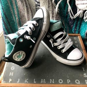 Converse All-Star > Kids Black and Turquoise Shoes